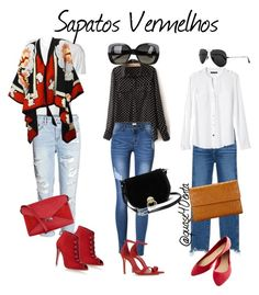 """""""Sapatos Vermelhos"""" by fabiana-canegal ❤ liked on Polyvore featuring R13, 3x1, Gianvito Rossi, Schutz, Banana Republic, Wet Seal, Diane Von Furstenberg, CÉLINE, John Lewis and Ray-Ban"""