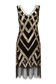 UK22 US18 AUS22 Glitz Black Gold Vintage inspired 20s Flapper Great Gatsby Beaded Charleston Sequin Deco Wedding Fringe Dress New Hand Made