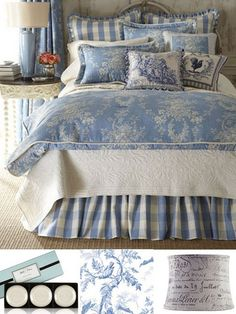 I like this blue and white.  (I might not add the darker toile pillows.)  French inspired by lauratrevey, via Flickr