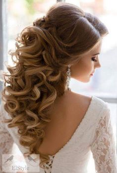 Elegant bridal curly hairstyle