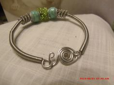 Pandora style paper bead with Coiled wire Bracelet