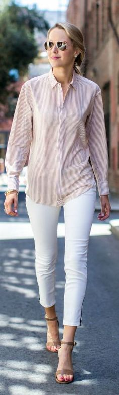 pink and white striped button front shirt, white skinny jeans, nude ankle strap heels + aviator sunglasses {rag & bone, white house black market, ray-ban}
