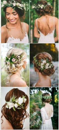 Pantone Color of the Year 2017- Greenery Wedding Hairstyles
