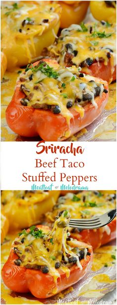 Sriracha Beef Taco Stuffed Peppers - A quick and easy one sheet pan dinner that's gluten free and relatively low carb. Meat Loaf Recipe Easy, Easy Meat Recipes, Mexican Food Recipes, Easy Meals, Mexican Dishes, Yummy Recipes, Burritos, Quesadillas, Stuffed Peppers Oven
