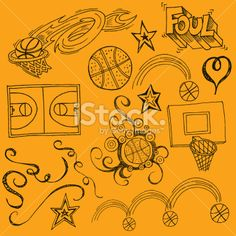 Basketball, Ballon de basket, Sports et forme physique, Griffonnage, Panier de basket Illustration vectorielle libre de droits