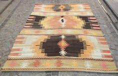 "Maybe not this pattern, but something like it. Peach Orange Turkish Kilim Rug, Pastel Beige Blue n Pink Handwoven Wool Kilim Rug 93"" x 67  inch, Modern Bohemian Home Decor,  FREE SHIPPING..."