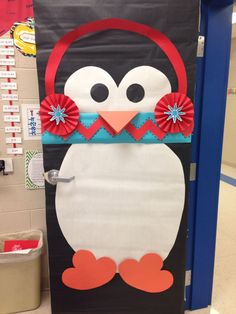 Winter door decorating ideas winter classroom door who love a penguin with a chevron scarf classroom School Door Decorations, Christmas Door Decorations, Christmas Classroom Door, Classroom Decor, Chevron Classroom, Owl Classroom, Teacher Doors, School Doors, Diy Origami