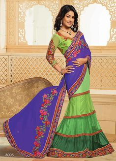 USD 107.4 Purple and Green Georgette Designer Lehenga Saree 30348