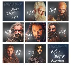 The ages of the dwarves during The Hobbit, according to Tolkien. OMG Thorin is older than Balin!!