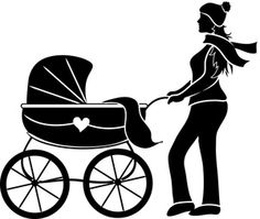 fashion sihouette art | Motherhood Clipart Image: Silhouette of a Young Mother Pushing an Old ...