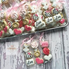 """Tons of bridal shower minis heading out! Mini Cookies, Fancy Cookies, Valentine Cookies, Iced Cookies, Cute Cookies, Cupcake Cookies, Valentines, Sugar Cookies, Wedding Shower Cookies"