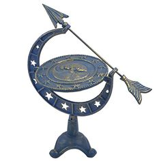 Sundials - Decorative Moon  Stars Sundial Blue  Gold Cast Iron 1675 Tall ** Be sure to check out this awesome product. (This is an Amazon affiliate link)