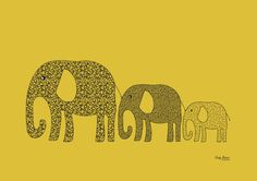 Elephants in Tow Print Mustard Yellow & Patterns Elephants in line for home or babies room baby gift. $20.00, via Etsy.