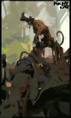 Kicky cat, Sergey Kolesov on ArtStation at https://www.artstation.com/artwork/blG0E