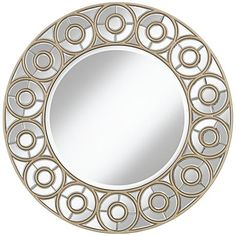 An elegant wall round mirror design surrounded by a border adorned with a smaller circle design.