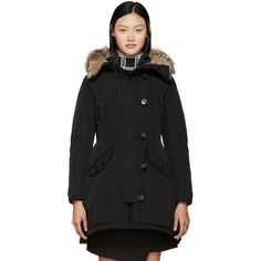 Moncler Black Down Ariette Coat (11.915 DKK) ❤ liked on Polyvore featuring outerwear, coats, black toggle coat, black hooded coat, hooded toggle coat, hooded parka and fur-trimmed coat