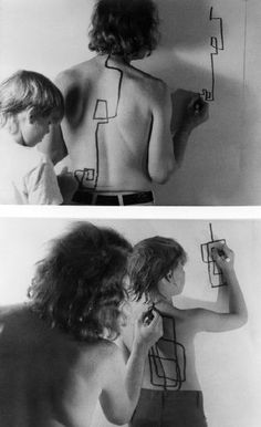 Not with shirts off, of course, but it could be a listening/understanding/awareness exercise Dennis Oppenheim