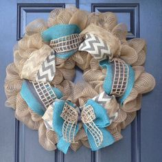 Burlap wreaths. Approximately 27 wide. by JuteWreath on Etsy, $65.00