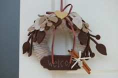 Fuoriporta di benvenuto con feltro - welcome ornament to hang in the door