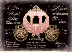 Midnight Princess Baby Shower Invitation - Pink, Gold & Black Fairydust