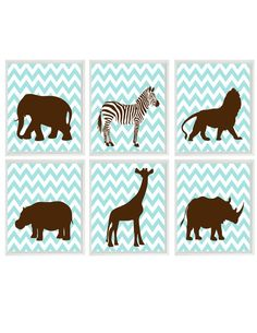 Safari Nursery Art Prints   Chevron Aqua Brown by RizzleandRugee, $65.00