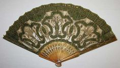 Silk and tortoise shell fan at the Metropolitan Museum, Antique Fans, Vintage Fans, Sea Turtle Shell, 18th Century Clothing, Thread Painting, Rabbit Ears, Metropolitan Museum, Art Object, Vintage Accessories