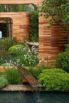 27 idéés pour le bassin de jardin préformé , hors sol + - moderne-bassin-hors-sol-bois-jardin-plantes