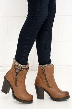 Steve Madden Sweaterr Cognac Leather High Heel Boots at Lulus.com!
