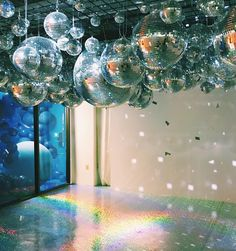 disco balls hanging from ceiling 70s Party, Party Time, Disco Theme Parties, Disco Party Decorations, Partys, Disco Ball, New Years Party, Event Decor, Event Design