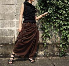 NO.26   Brown Cotton Asymmetric Harem Pants. $40.00, via Etsy.