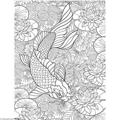 Free Download Japanese Painting Koi Fish Coloring Pages Coloringbook Coloringpages Relaxation
