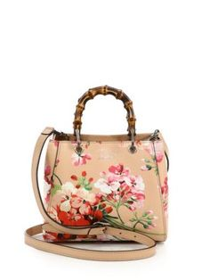 GUCCI Bamboo Shopper Mini Blooms Bag. #gucci #bags #leather #lining #shoulder bags #linen #hand bags #cotton #