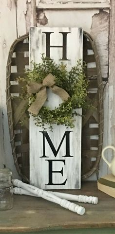 HOME sign with wreath, Farmhouse Sign with Wreath, Rustic Wreath Sign, Vertical HOME sign, Greenery Wreath, Distressed Home Sign, Farmhouse Decor, Rustic decor #ad