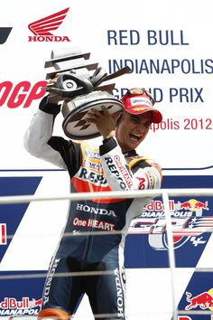 2012 Moto GP Round 11 at Indianapolis. Picture features race winner #26 Dani Pedrosa. For more information visit http://motorcycles.honda.com.au/Honda_Racing