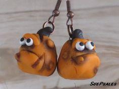 Halloween Earrings Halloween Jewelry Funny Pumpkin by SuePsales, $6.00