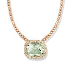 Color Candy Green Quartz Cushion Necklace with Green Sapphire in Rose Gold by Jane Taylor