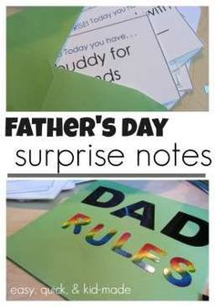Father's Day is almost here and with thequick, easy father's day surprise notes, you can have a memorable gift from the kids to Dad! This Father's Day idea is kid-made and dad-approved and includes a free printable. It's a Father's Day gift from kids that Dad will be sure to love! #fathersday #dad #1dad #fathersdaygift #fathersdaycard #surprisenotes #dadgift #kidsgiftfordad