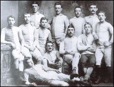Blackburn Rovers won the Lancashire Cup in March 1883. From left to right,back row: Doctor Greenwood, R. Howorth, John Hargreaves, Fergie Suter,Middle row: John Duckworth, Hugh McIntyre, H. Sharples, Fred Hargreaves, TotStrachan, George Avery. Sitting on the floor: Jimmy Brown and Jimmy Douglas.