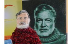 Ernest Hemingway  Doll Art Miniature  Old Man by UneekDollDesigns