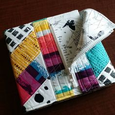 An inch sketchbook covered with a quilted Sketchbook Jacket made with Art Gallery Fabrics Sketchbook Cover, Art Gallery Fabrics, Shapes, Stitch, Jackets, Down Jackets, Full Stop, Stitching, Jacket