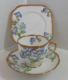 Roslyn Art Deco Hand Painted English Bone China Tea Set Trio. pattern Esme ex| eBay