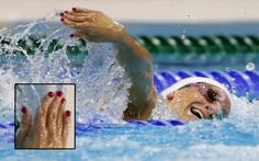Even Women of Olympic Swimming are sporting their nail art in the 2012 London Games. #BarbaraJardin, Canada. - DIY nail art designs.