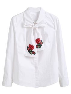 Blusa con bordado y lazo en cuello - blanco