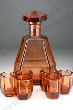 VINTAGE GLASS: DRINK SETS; DECANTERS, GLASSES, BARWARE. c.1930s BOHEMIAN MOULDED DECO DECANTER & GLASSES SET. To visit my website click here: http://www.richardhoppe.co.uk or for help or information email us here: info@richardhoppe.co.uk