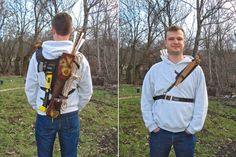Multifunctional Tooled Leather Quiver Holding an Axe, a Knife and a Rope with a Detachable Pouch, via Etsy, $330. Not a huge fan on the yellow/red coloring on the leather, but awesome idea! Quiver holds 12-18 arrows, bow, axe, rope, knife, and detachable pouch.