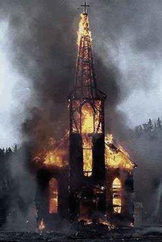 Norwegian church...  burning!    -l-   !   (Mena  =)