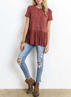 peplum crewneck tee shirt - more colors