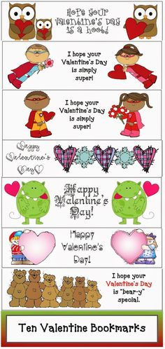Classroom Freebies: Valentine Bookmarks