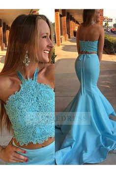 2017 New Halter Prom Dress,Long Sexy Blue Two Piece Prom Dresses,Lace Top Prom Gown,Mermaid Prom Dresses,Halter Backless Evening Fitted Prom Dresses, Prom Dresses Two Piece, Strapless Prom Dresses, Prom Dresses 2017, Beaded Prom Dress, Dress Lace, Lace Bodice, Blue Dresses, Prom Gowns