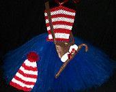 WHERES WALDO Inspired Tutu Dress Costume 3pc Set, Childrens Waldo Halloween Costume, MEDIUM (2-4yrs)